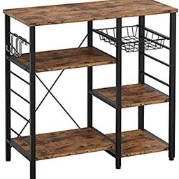 IRONCK Industrial Kitchen Baker's Rack, Kitchen Island Utility Storage Shelf, Coffee Bar Microw... | Amazon (US)