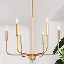 LOG BARN Gold Chandelier, Brass Chandelier, Modern Dining Room Lighting Fixtures for Sitting Room... | Amazon (US)