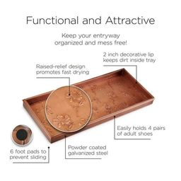Flowers Boot Tray for Boots, Shoes, Plants, Pet Bowls, and More, Copper Finish by Good Directions   Overstock