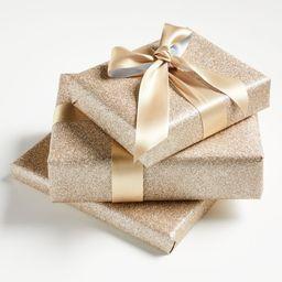 Champagne Glitter Gift Wrap | Crate & Barrel