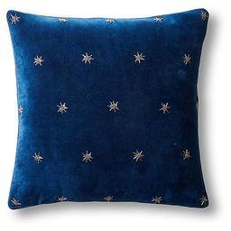 Embroidered Star 20x20 Pillow - Navy Velvet - Joanna Buchanan | One Kings Lane