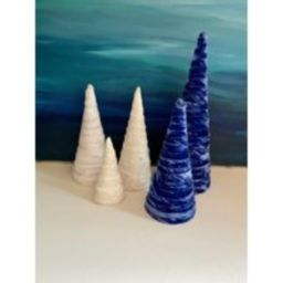 Velvet Christmas Trees Set Of 5 On Sale Free Shipping Blue & White Modern Home Decor Centerpiece Man | Etsy (US)