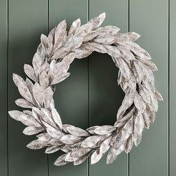 Glitter Leaves Wreath, Silver | West Elm (US)