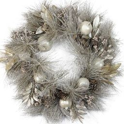 """24"""" Champagne Gold Apples & Pine Cones Wreath, Unlit By Northlight 
