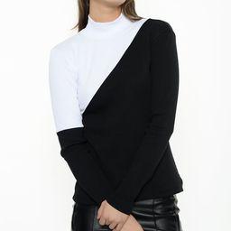 Simmly Women's Turtlenecks BLACK - Black & White Color Block Mock Neck Top - Women | Zulily