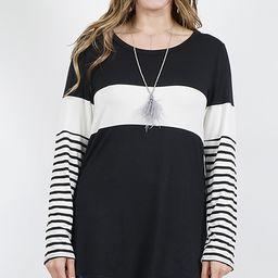 42POPS Women's Blouses Black/Ivory - Black & White Stripe-Accent Color Block Long-Sleeve Top - Plus | Zulily