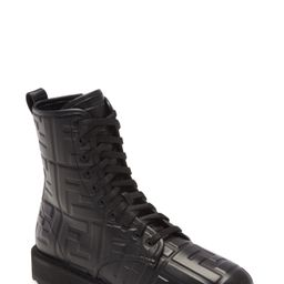 Women's Fendi Ff Embossed Logo Combat Boot, Size 5US - Black | Nordstrom