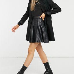 New Look pleated leather look skirt in black | ASOS (Global)