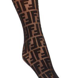 Women's Fendi Ff Sheer Crew Socks, Size One Size - Black | Nordstrom