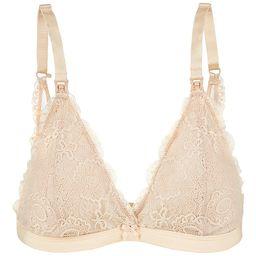 Oh La Lari Women's Bralettes Nude - Nude Lace Nursing Bralette - Women   Zulily
