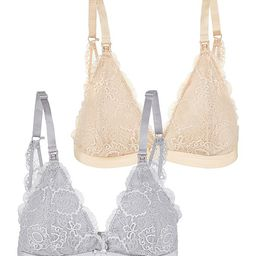 Oh La Lari Women's Bralettes NUDE/GRY - Nude & Gray Lace Nursing Bra Set - Women   Zulily