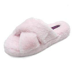 Wild Diva Women's Slippers PINK - Pink Crisscross Cuddles Slipper - Women   Zulily