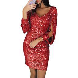 Women's Fahsion V-neck Sequin Dress Tassel Long-sleeved Slim Fit Dress Evening Bodycon Dress Club...   Walmart (US)