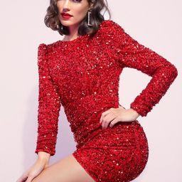 SHEIN Tie Open Back Ruched Detail Sequin Dress   SHEIN