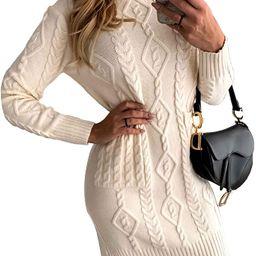 Azokoe Women Slim Fit Knit Bodycon Mini Sweater Dress Jumper | Amazon (US)