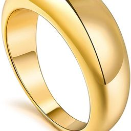 micuco Thick Chunky Dome Rings for Women 14K Gold Plated Statement Ring 5-9 Size   Amazon (US)