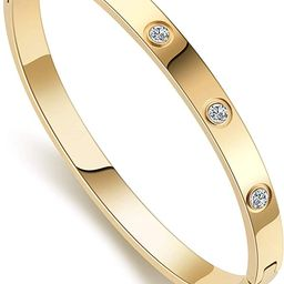 Love Friendship Bracelet Bangle Gold Rose Gold Silver with Cubic Zirconia Stones Stainless Steel ...   Amazon (US)