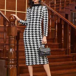 SHEIN Rolled Neck Houndstooth Sweater Dress | SHEIN