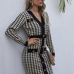 Houndstooth Button Front Sweater Dress | SHEIN