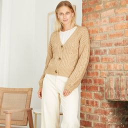 Women's V-Neck Cable Knit Button-Front Cardigan - A New Day™ | Target