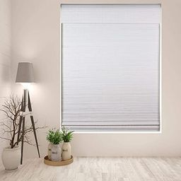 """Arlo Blinds Cordless Semi-Privacy White Bamboo Roman Shades Blinds - Size: 34"""" W x 60"""" H, Cordles... 
