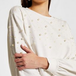 River Island pearl coordinating sweatshirt in white | ASOS (Global)