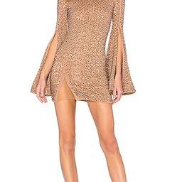 Michael Costello x REVOLVE Mr. Gibson Mini Dress in Metallic Bronze. - size L (also in XXS)   Revolve Clothing (Global)
