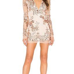 superdown Jessa Deep V Mini Dress in Metallic Copper. - size XS (also in XXS)   Revolve Clothing (Global)
