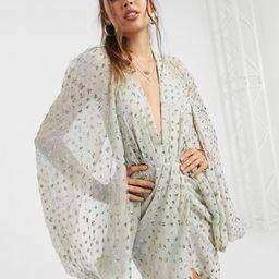 ASOS DESIGN sequin embellished cape sleeve mini dress with wrap skirt-Green   ASOS (Global)