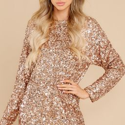 Glamour Girl Rose Gold Sequin Dress | Red Dress