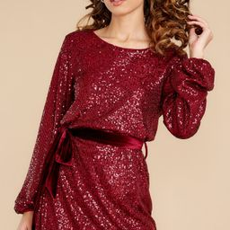When He Sees Me Burgundy Sequin Dress | Red Dress