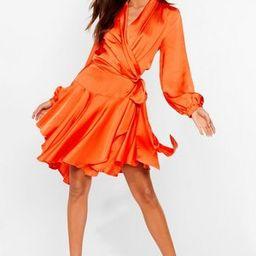 Satin Wrap Mini Dress with Ruffle Detailing   NastyGal (US & CA)