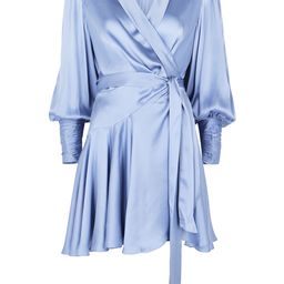 Blue silk-satin wrap dress   Harvey Nichols (Global)