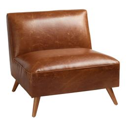 Mid Century Armless Huxley Chair: Brown - Leather - Cognac by World Market   World Market
