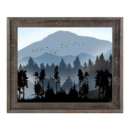 Creative Gallery 16 in. x 20 in. Fog Over Blue Mountains Barnwood Framed Print Wall Art, Light Brown   The Home Depot