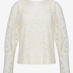 Lace Overlay Blouson Sleeve Top | Express