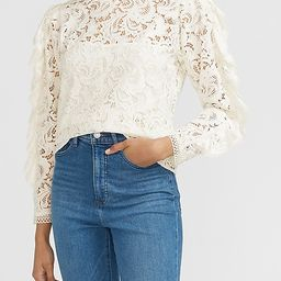 Lace Mock Neck Ruffle Sleeve Top | Express