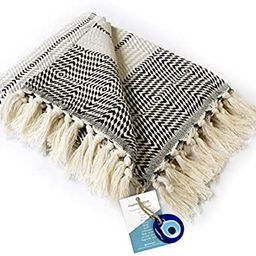 """Luxury Fringe Throw Blanket Decorative Lightweight 100% Cotton  40""""x71""""  for Chair Couch, Boh...   Amazon (US)"""