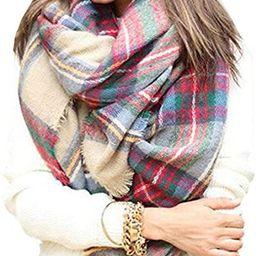 Warm Women Blanket Scarf Oversized Tassel Tartan Wrap Shawl Plaid Cozy Checked Pashmina   Amazon (US)