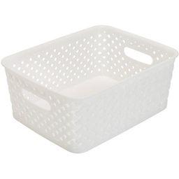 Simplify's Small Resin Wicker Storage Bin in White | Walmart (US)