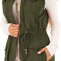 Koodred Women's Casual Military Utility Vest Lightweight Sleeveless Drawstring Jackets with Pocke...   Amazon (US)