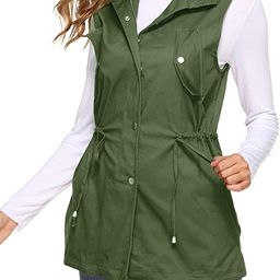 UUANG Women's Zip Up Drawstring Sleveeless Jacket Military Vest Outerwear w/Two Pockets   Amazon (US)