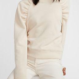 Ruched Sleeve Crew Neck Sweatshirt | Express