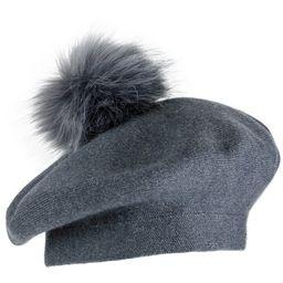 Jones New York Beret Hat With Faux Fur Pom Pom | Dressbarn