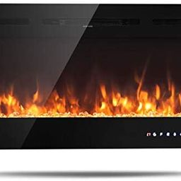 """Tangkula 40"""" Electric Fireplace, in-Wall Recessed and Wall Mounted 750 W / 1500 W Fireplace Heate... 