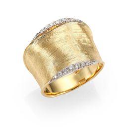 Marco Bicego Women's Lunaria Diamond & 18K Yellow Gold Band Ring - Gold - Size 7 | Saks Fifth Avenue