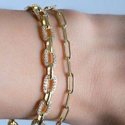 Pave Link Bracelet, Diamond Bracelet Chain, Chain Link Bracelet, Layering Bracelet, Gold Link Bra... | Etsy (US)