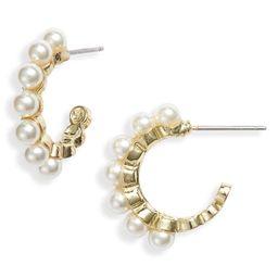 Stella + Ruby Imitation Pearl Studded Hoop Earrings   Nordstrom   Nordstrom