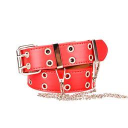TureClosTureClos Women Belt Double Grommet Belt Alloy Leather Jeans Eyelet WaistBand, Red, with C... | Walmart (US)