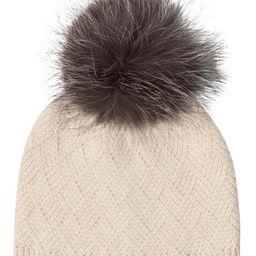 Cashmere Diamond Stitch Knit Hat with Genuine Fox Pom   Nordstrom Rack